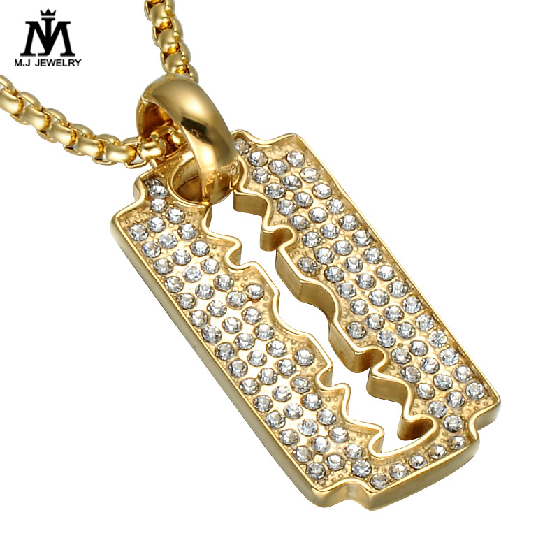 316 L Stainless Steel Crystal Barber Razor Pendant Necklace