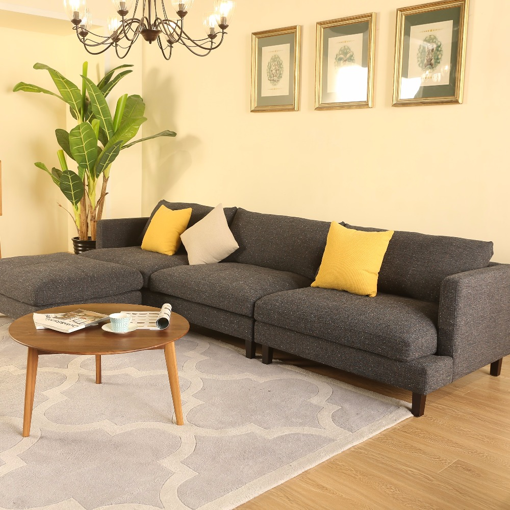 Home Furniture Living Room Hotel Corner Sofa Set Modern Design 3 Seater Wooden Fabric Upholstery Wooden Fabric Sofa