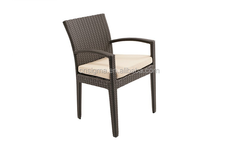2017 Trade Assurance All Weather Outdoor Cheap Wholesale customized pe rattan garden line stacking single arm chairs