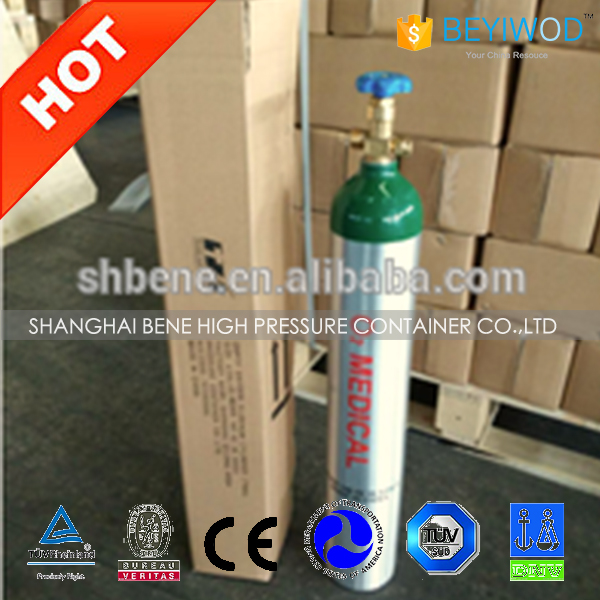 M9 medical oxygen gas cylinder DOT approved aluminum oxygen gas tank high pressure