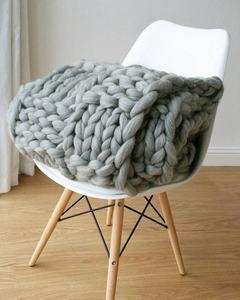 wholesale Australia chunky blanket 100% merino wool blanket knitting thick blanket