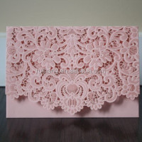 personalized pink laser cut wedding cards & 2015 folding invitations