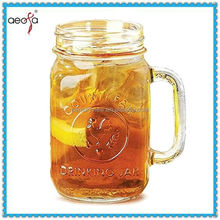 Heavy Thick Fancy Mason Jar Drinking Glass With Handle Tin Lid