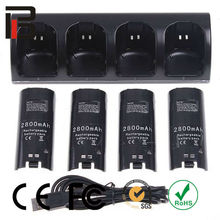 Remote controller charger+4 x battery for nintendo wii