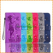 Luxury Painted Girl Painting Diamond Stand Flip Wallet leather Phone case for iphone 7