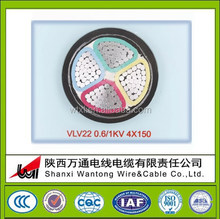 VLV 22 4x150 0.6V/1KV Alluminum Core PVC Insulation PVC Sheath underground armoured power cable