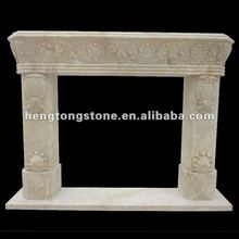 Carved Yellow Travertine Stone Fireplace Surround Design