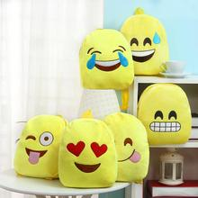 New Trendy 100% Cotton Plush Emoji School Bag