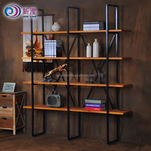Wood And Metal Material Antique Wrought Iron Book Shelf, Display Rack
