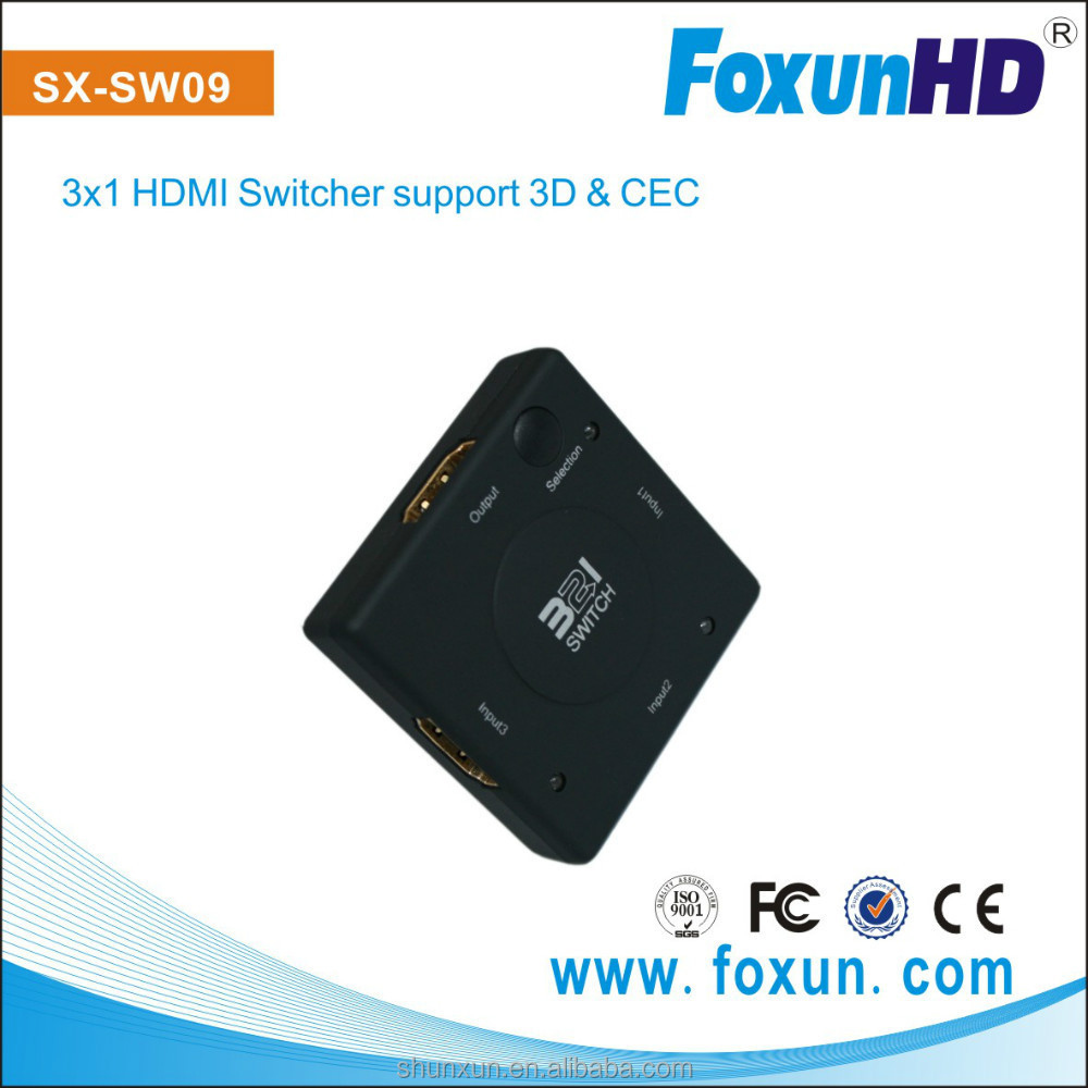 Supper Mini ! HDMI Switcher 3 in 1 out, support 1080p,3D ,HOT product