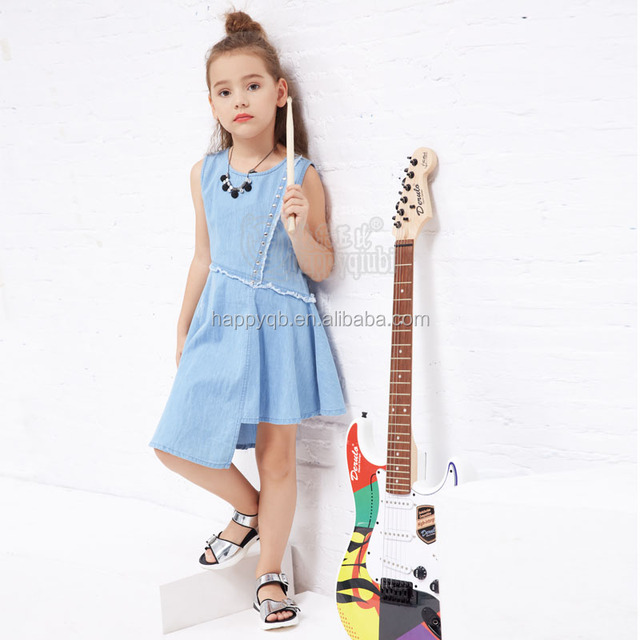 2017 YDM New Design Kid Summer Blue Fashion Sleeveless Irregular cutting Children Girl Jean Dress