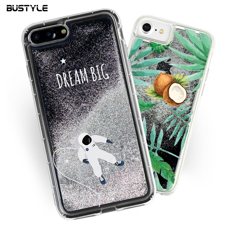 Wholesale For iPhone 7 Case Soft TPU Mobile Phone Case Glitter Liquid Flow Quicksand case for iPhone 7 7 plus