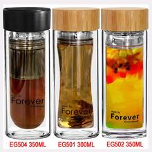 Wholesale 450ml high quality double wall tea thermos glass with strainer