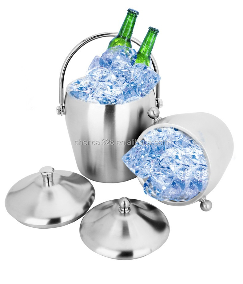 double wall stainless steel beer Ice Bucket with Bale Handle