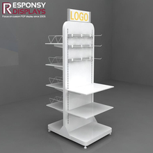 Practical shopping mall wooden floor shoe display stand with price tags