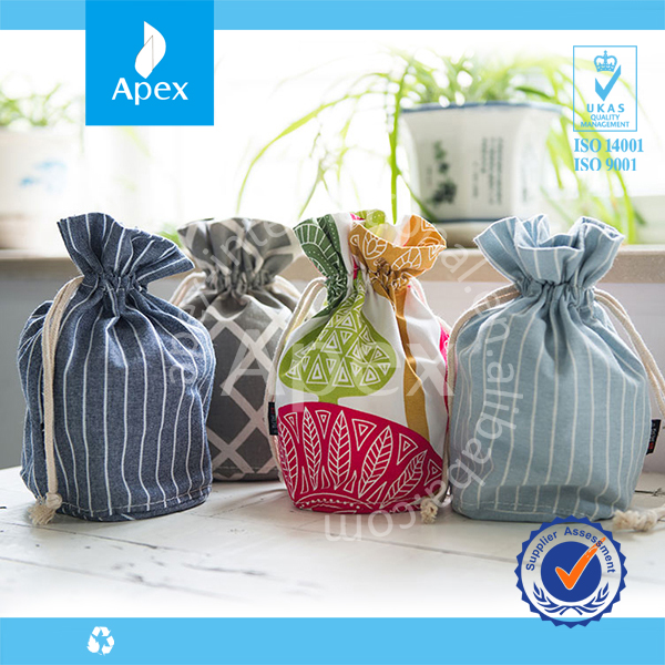 Wholesale cheap recycled drawstring cotton gift pouch bag