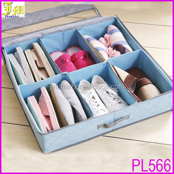 Foldable Eco Fabric Closet Shoes Organizer Under Bed Storage Holder Box Container Case Storer For 6/8 Shoes