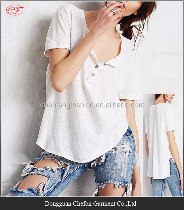 China wholesale henley pattern cotton spandex t-shirt cheap t shirt