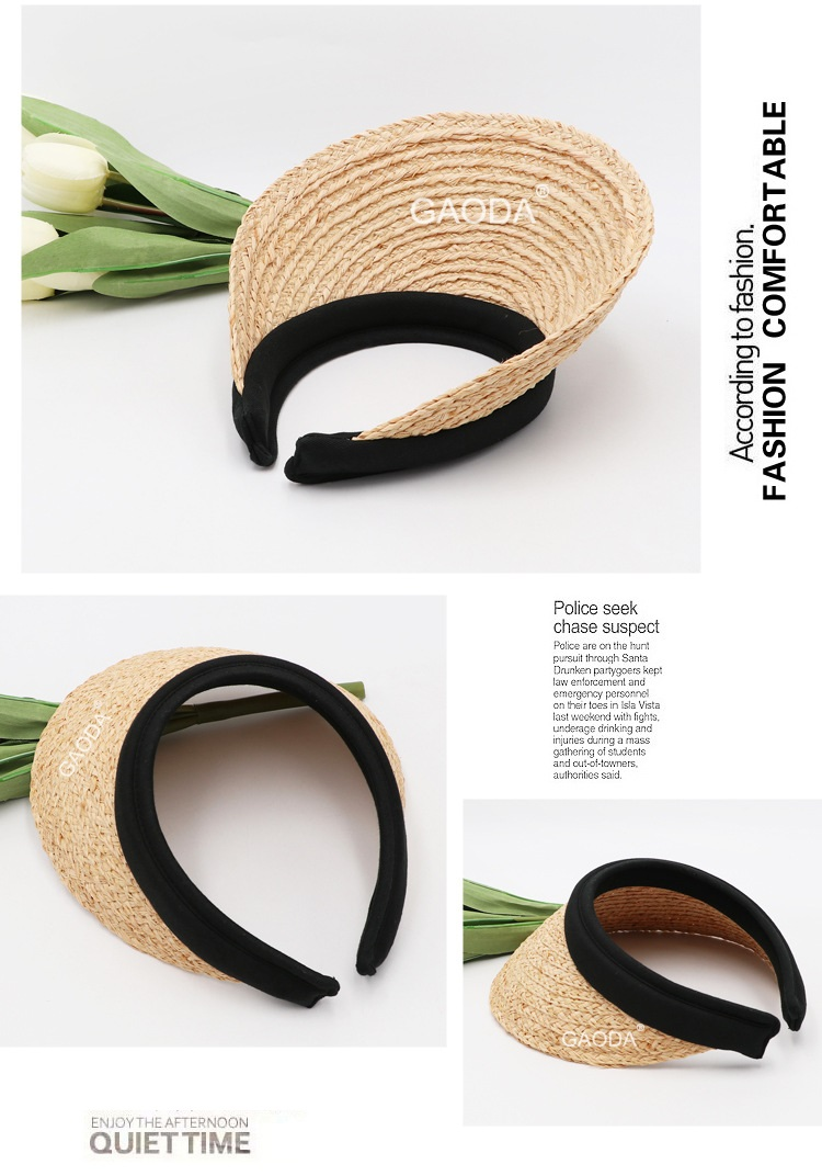 customized natural  raffia straw sun visor hat