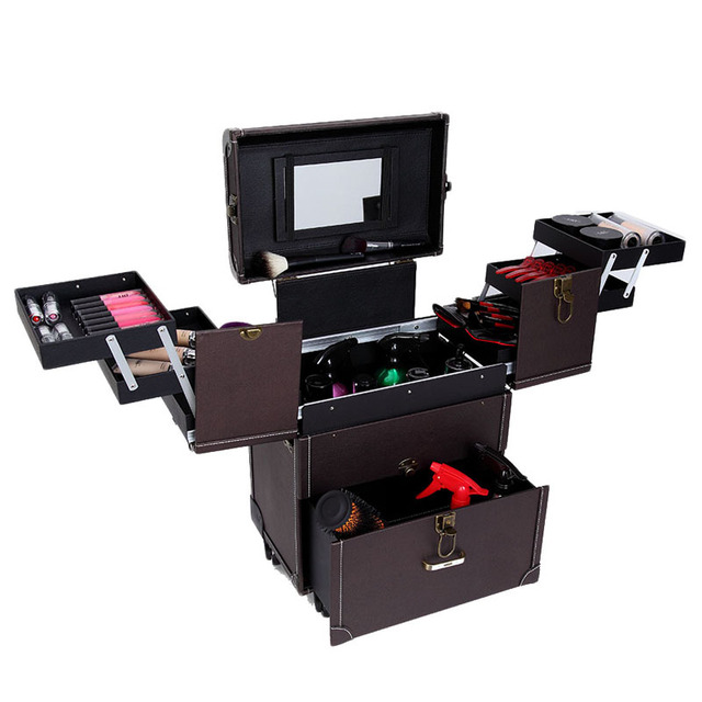 Manufacture Cosmetic Hairdresser Trolley Rolling Barber Tool Case With Emovable Wheel