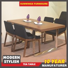 simple design dinning table solid wood with stainless steel table leg