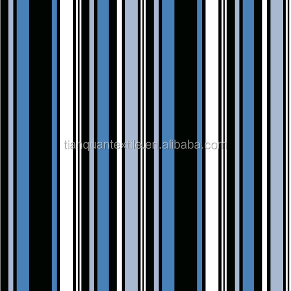Cotton Black, Blue and White Stripe Pattern/Design Printed Flannel Fabric For Bedding