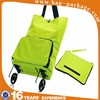 Folding shopping bag with wheels nylon foldable shopping trolley bag