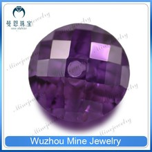 round shape double checker cut purple cubic zirconia faceted cut whole drilled CZ