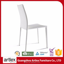 Durable Economic Modern White PU Leather High Back Metal Dining Room Chair