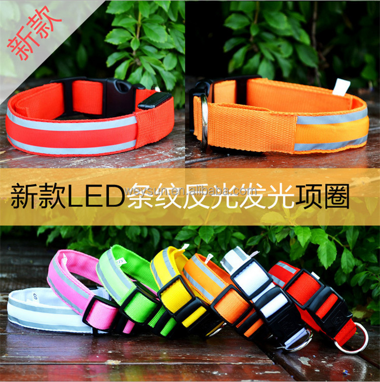 Puppy Pets Dogs Striped Mesh LED Night Flashlight Collar S-XL