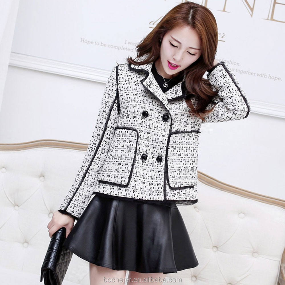 Woman simple tweed jacket long sleeve lady nice jacket