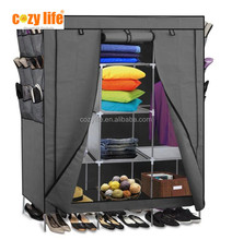 Home storage and organizer Non-woven cover iron tubes large capacity assemble fabric wardrobe