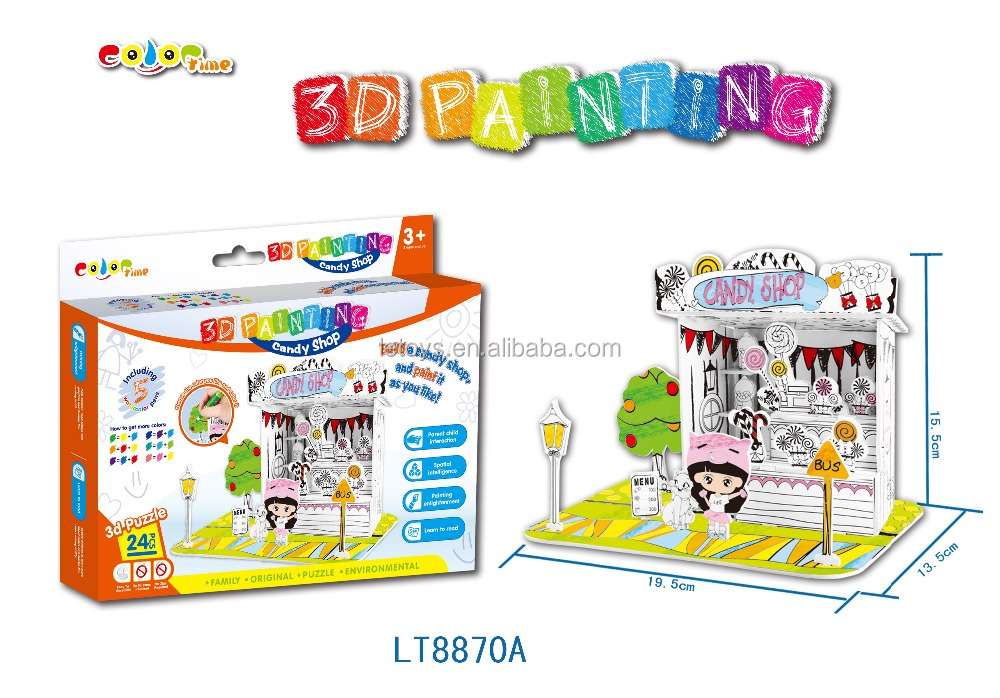 hot sale Creative 3D building puzzles for free painting