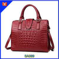 Genuine cow leather handbag with Crocodile pattern for women ladies fashion purse luxury tote crossbody bag wholesale