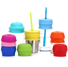 2017 Amazon Best Seller Reusable Silicone Straw Cup Lid Sippy Cup Lids