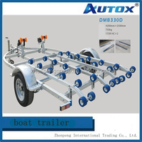 Double Axle 14 Roller Braked Boat Trailer for Double Row
