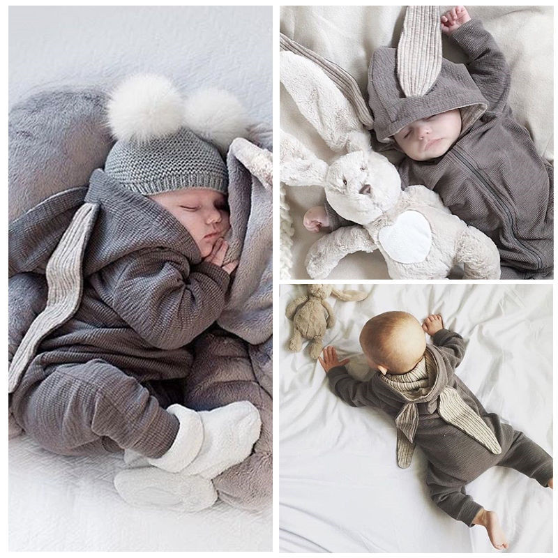 PA180 The spring infant baby long ears rabbit hooded zipper rompers cotton long sleeve jumpsuit