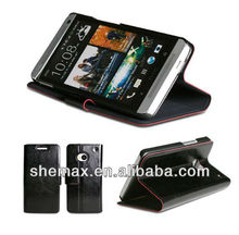 Black PU leather Magnetic Wallet Protective Stand Flip Folio Case for HTC One M7