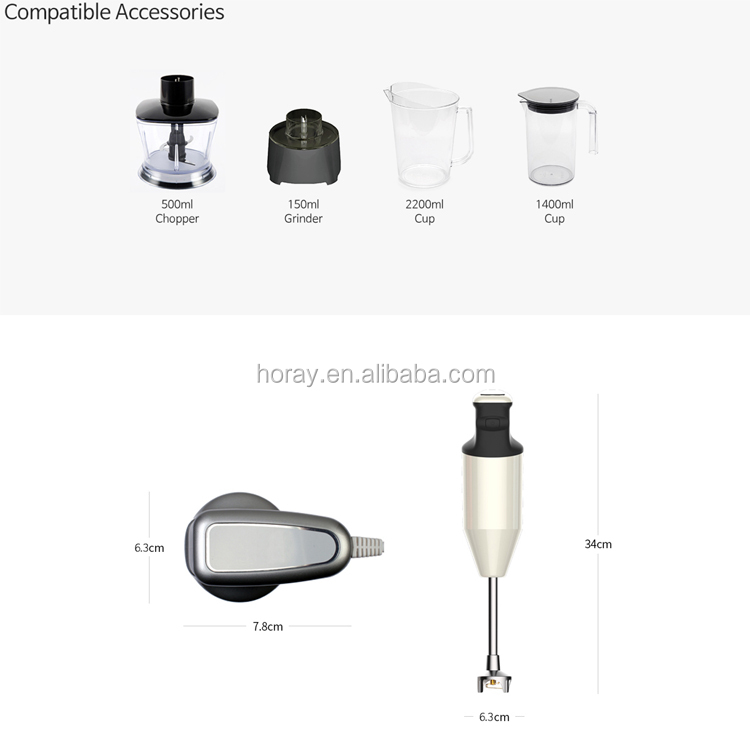 WizHaus/WIZCOOK personal hand blender and multi food mixer model No.V-3300W White/Pink color HORAY AC blender motor inside