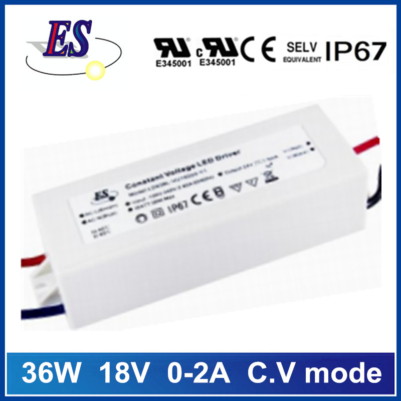 ES 36W 18V 0-2A constant voltage waterproof LED driver power supply with UL CUL CE IP67