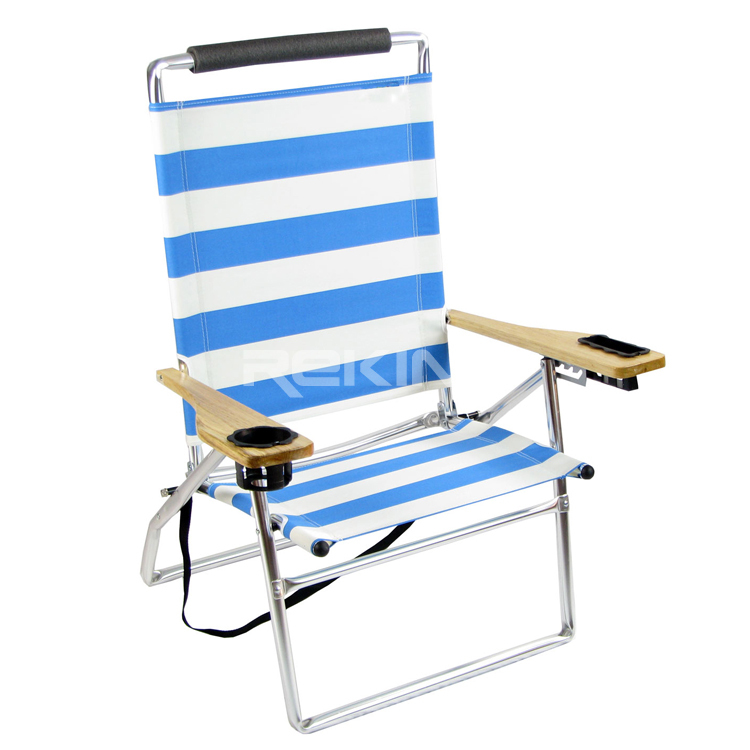 White and Blue Folding Arm Beach Chair with Cup Holder