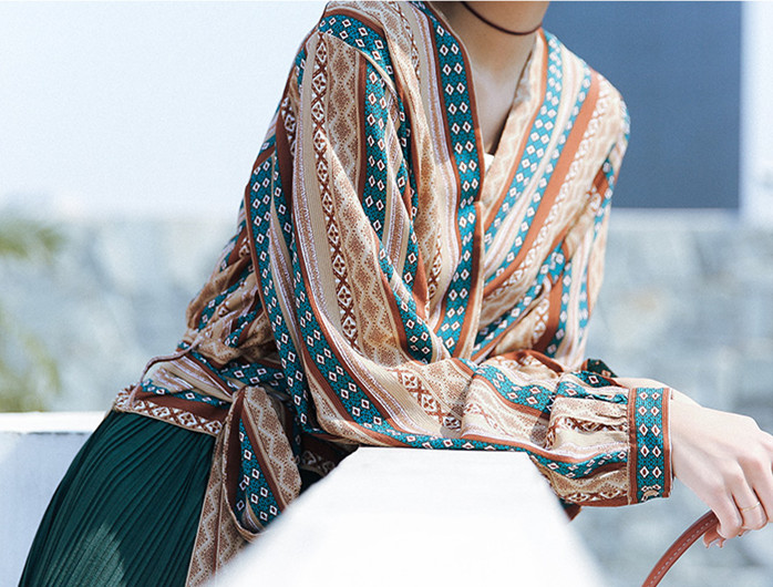 Summer Bohemian Style geometric pattern V neck long sleeve blouse & top