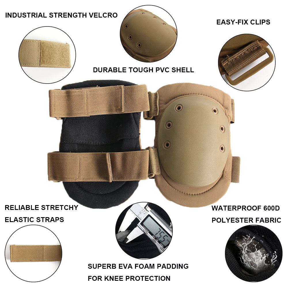 Jungle Camo Airsoft Paintball Prop Woodland Tactical Knee and Elbow Pads