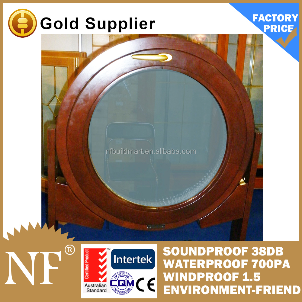 round fixed wood window