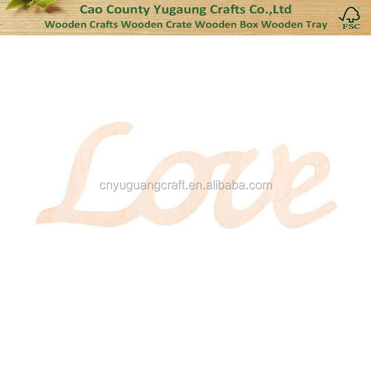 Wood Crafts Script Wooden Words Cutout Decorative Wooden Words
