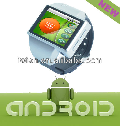 quad band touchscreen mobile phone watch with camera wifi gps 3D games