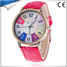 China Cheaper 2016 Fashion Personality Jeans Band Design Copper Dial 7 Colors Quartz Watch LW032