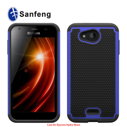 low price high quality soft silicone combined with hard pc soft tpu hybrid layer cell phone case for Kyocera Hydro Wave