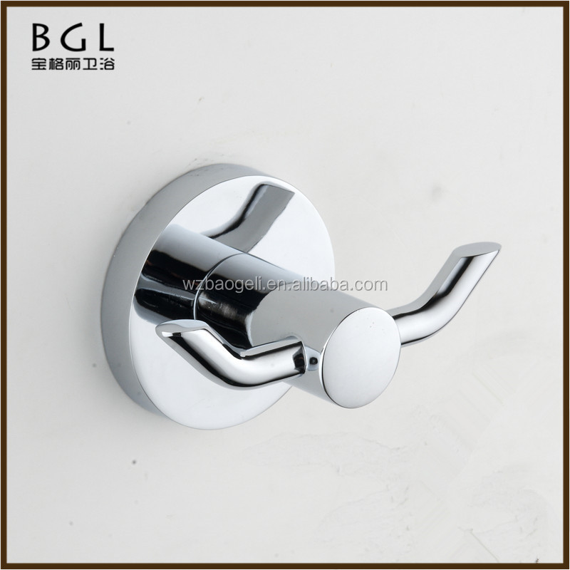 Bathroom designs Double Post Zinc Alloy Chrome Mounting Bathroom Fixtures And Accessories Wall Mounted Bathrobe Hook