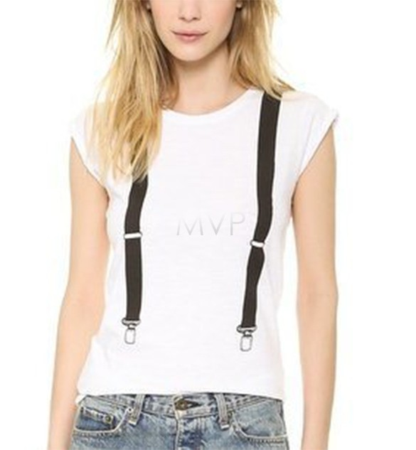 8567eaa0233 Get Quotations · New 2015 Fashion Korean Style Women Casual T-shirt Cap  Sleeve Plus Size Suspender Pattern